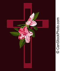 rosa, azalea, flores, cruz, profundo