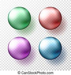 rosa, azul, diferente, pelotas, eps10, realista, gteen, sombras, ilustración, color., cuatro, esferas, o, vector, metálico, transparente, rojo