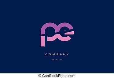 rosa, azul, e, alfabeto, p, carta, pe, logotipo, icono
