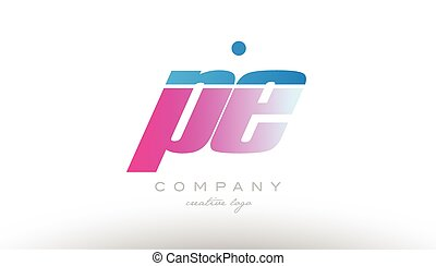 rosa, azul, e, negrita, combinación, alfabeto, p, diseño,...