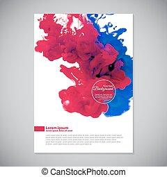 rosa, azul, empresa / negocio, agua, plantilla, tinta