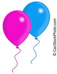 rosa, azul, globos