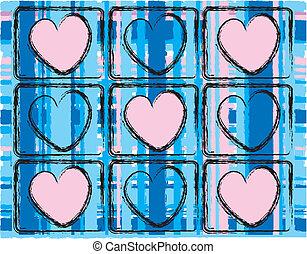 rosa, azul, tartán, diseño, corazones