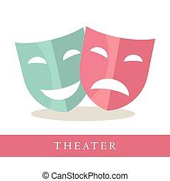 rosa, azul, teatro, iconos, aislado, máscaras, plano de...