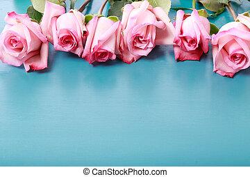 rosa, azul, turquesa, de madera, rosas, tabla
