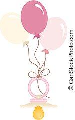 rosa, baby, luftballone, kinderschnuller