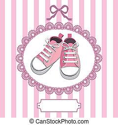 rosa, baby, ram, skor, spets