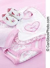 rosa, baby, säugling, m�dchen, kleidung