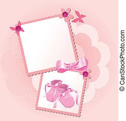 rosa, baby skor, kort, inbjudan