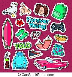 rosa, badges., lebensstil, brandung, lebensmittel, gekritzel, abbildung, vektor, schnell, auto, aufkleber, fot, flecke, teenager