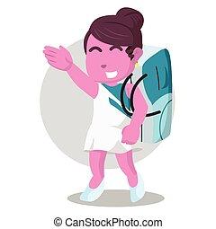 rosa, bailarín, caminata, bolsa, proceso de llevar, cinta