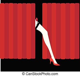 rosa, bailarín, ilustración, rojo, cabaret