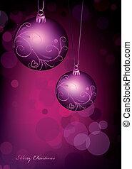 rosa, bakgrund., boll, jul, vektor