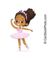 rosa, ballerina, ballo, africano american bambino, tutu