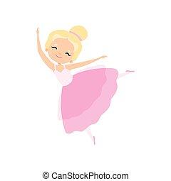 rosa, ballerina, poco, adorabile, ballo, ballerino, tutu, carattere, balletto, illustrazione, vettore, ragazza, vestire, biondo