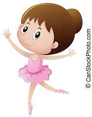 rosa, balletto, piccola ragazza, ballo