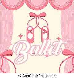 rosa, balletto, pointe, cornice, tenda, scarpe
