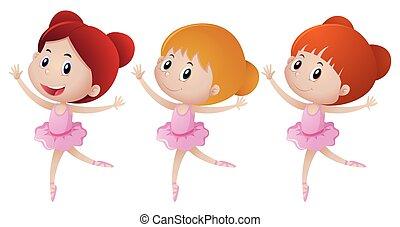 rosa, balletto, tre, ragazza, equipaggiamento