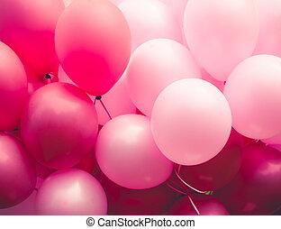 rosa, ballons, plano de fondo