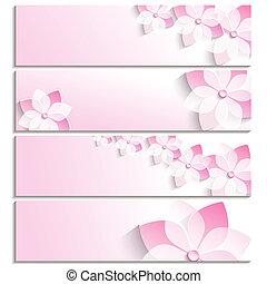 rosa, bandiere, set, sakura, fioritura