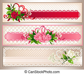 rosa, bandiere, set