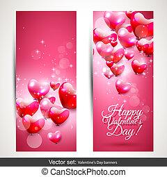 rosa, baner, dag, valentinkort