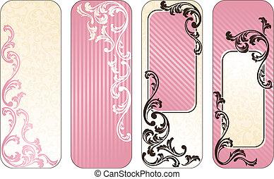 rosa, baner, fransk, romantisk, vertikal