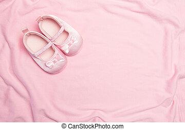 rosa, bebé manta, pantuflas