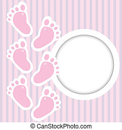 rosa, bebé, marco, pasos