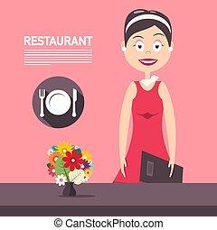 rosa, bello, direttore, donna, piastra, ristorante, simbolo., woth, vettore, sfondo rosso, forchetta, fiori, vestire, coltello, design.