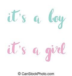 rosa, beschriftung, satz, card., baby, notieren, blaues, ihm...