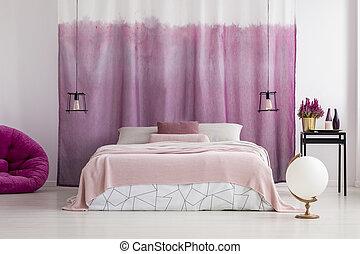 rosa, bianco, accenti, camera letto