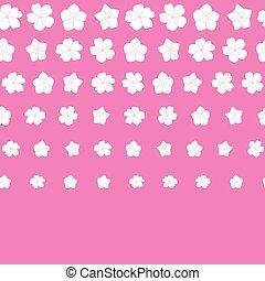 rosa, bianco, vettore, bordo, seamless, fiori, modello, fondo