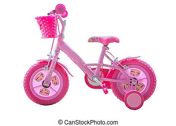 rosa, -, bicicleta, aislado, niñas