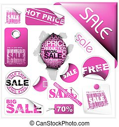 rosa, biglietti, etichette, set, vendita
