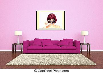 rosa, bild, befestigt, wand, sofa