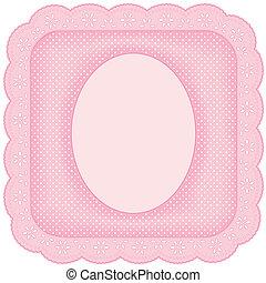 rosa, bilderrahmen, spitze, öse