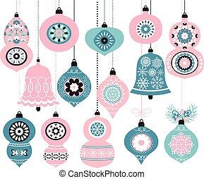 rosa, blå, dekor, inbjudan, hälsning, jul, färger, vektor, agremanger, hängande, helgdag, kort