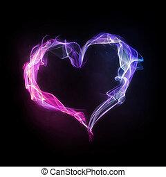 rosa, blå, hjärta