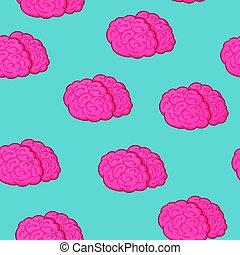 rosa, blå, mönster, seamless, illustration, hjärna, vektor, bakgrund