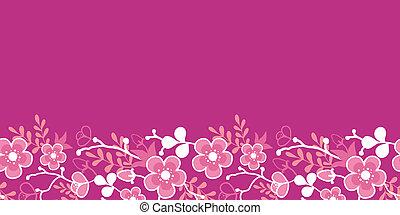 rosa, blüte, muster, seamless, kimono, sakura, horizontal, ...