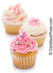 rosa, blanco, cupcakes