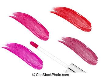 rosa, blanco, lipgloss, aislado