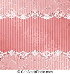 rosa, blanco, vector, encaje