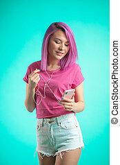 rosa, blaues, behaart, kopfhörer, hintergrund., musik- hören, dame
