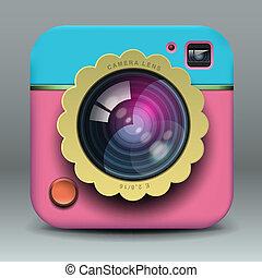 rosa, blaues, foto, app, fotoapperat, design, ikone