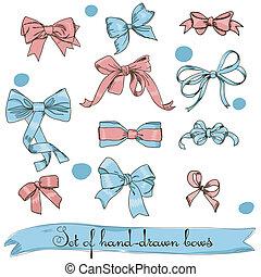 rosa, blaues, satz, verbeugungen, weinlese