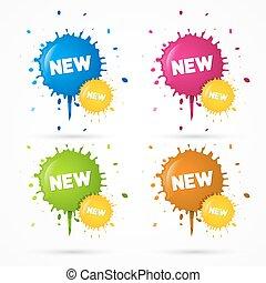 rosa, blaues, titel, flecke, orange, vektor, grün, aufkleber...