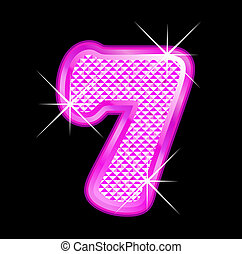 rosa, bling, número, girly, 7