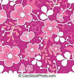 rosa, blomma, mönster, seamless, kimono, sakura, bakgrund